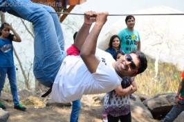 Monkey pulling off a stunt